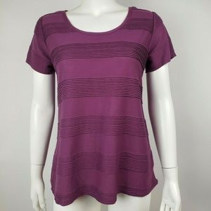 LULAROE Solid Purple Ribbed Classic T Small